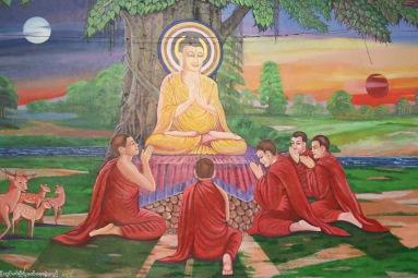 Fresque représentant Bouddha et ses disciples