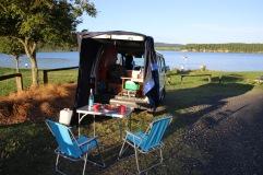 Notre camping car installé pour la nuit